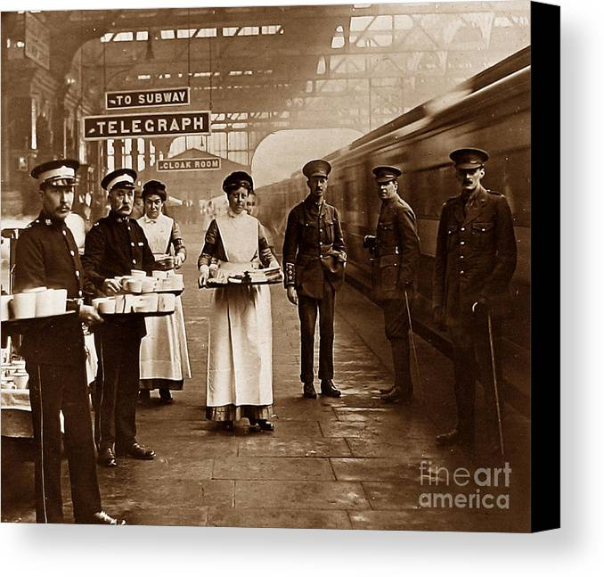 Historical Antique Archival Vintage Old Early Victorian Edwardian England English Britain British Red Cross St Johns Ambulance Brigade World War One Ww1 1 First Railway Station Troops Train Troop Voluntary Aid Detachment Vad Canvas Print featuring the photograph The Red Cross And St. John's Ambulance Brigade During Ww1 England by The Keasbury-Gordon Photograph Archive