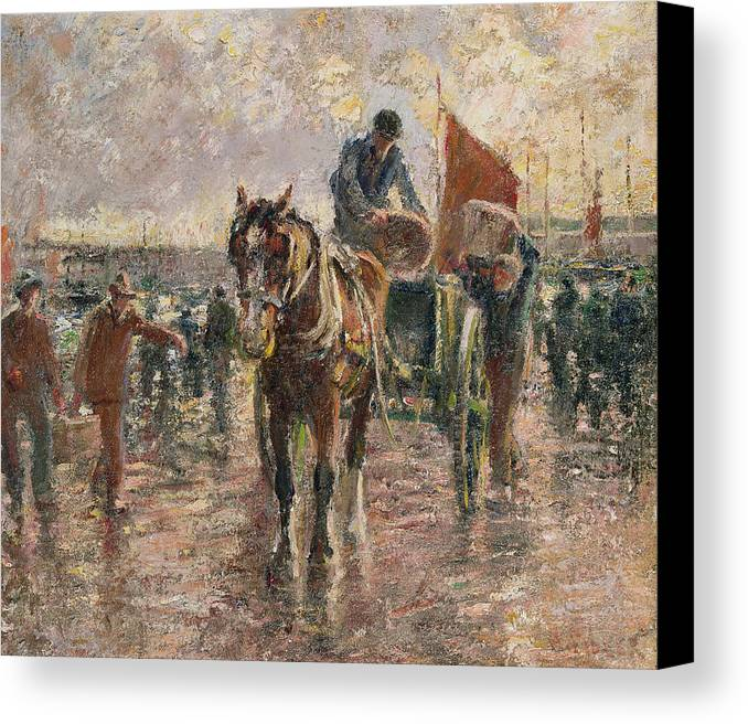 Horse Canvas Print featuring the painting Unloading The Catch by Harry Fidler