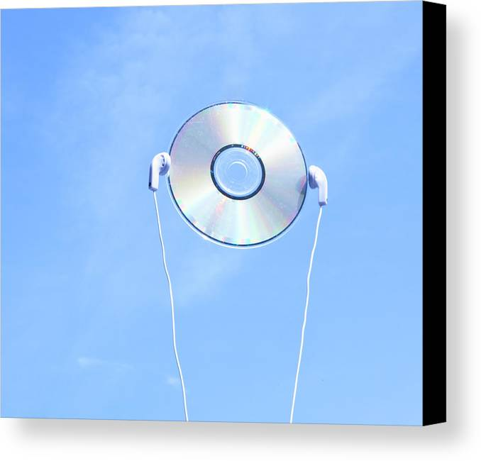 Horizontal Canvas Print featuring the photograph Cd With Earphone In The Sky. by Ichiro