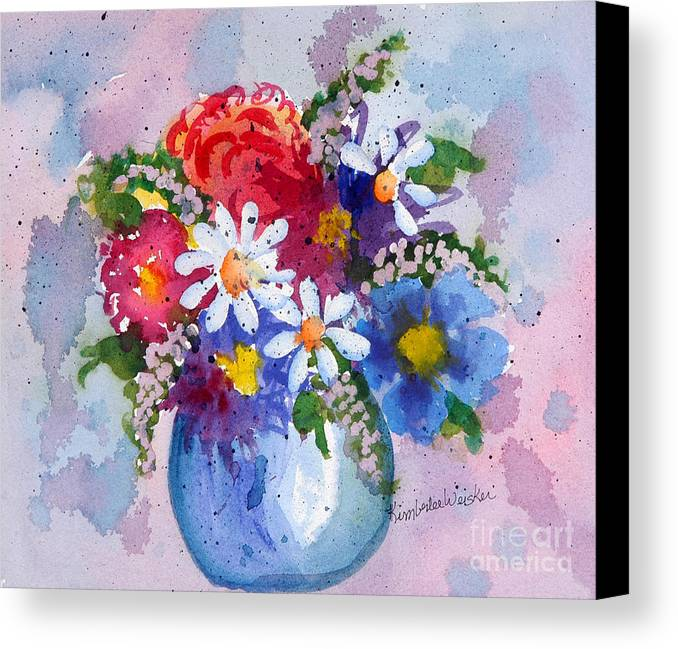 Daisies Canvas Print featuring the painting Company Again by Kimberlee Weisker