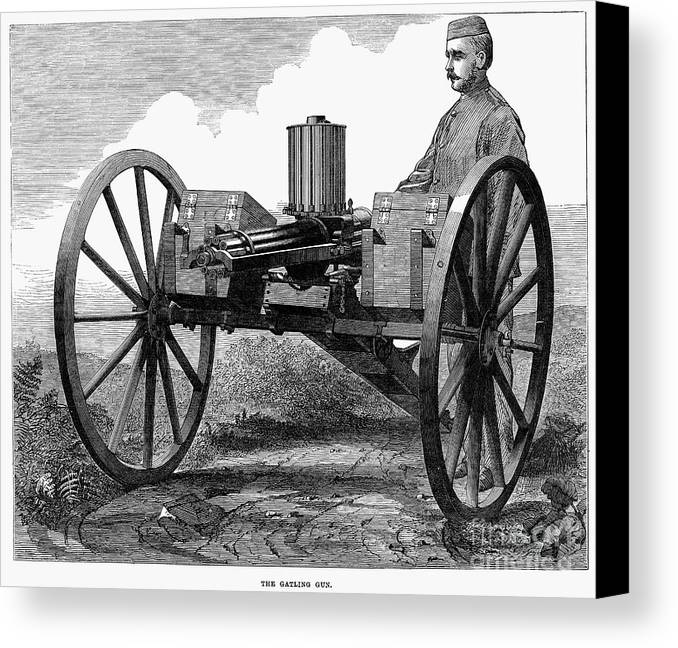 1872 Canvas Print featuring the photograph Gatling Gun, 1872 by Granger