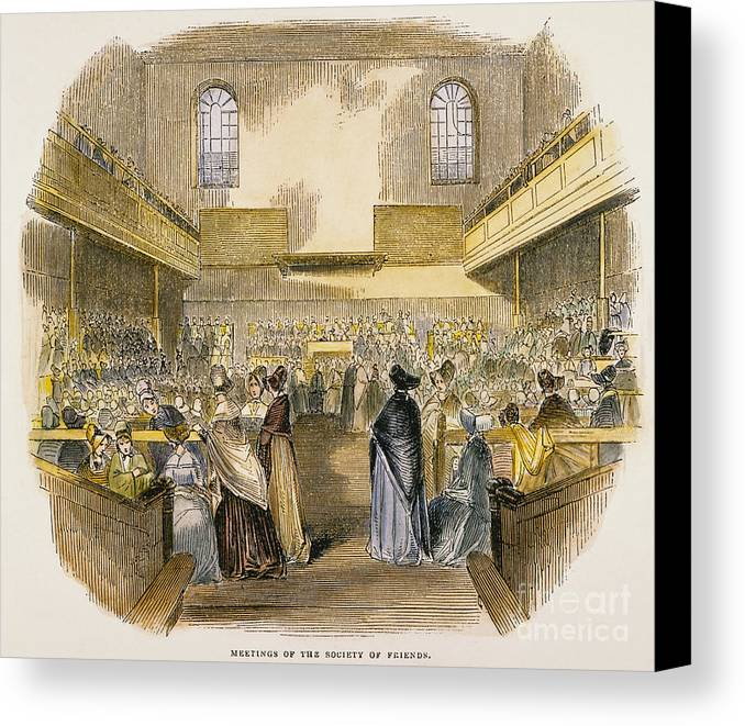1843 Canvas Print featuring the photograph Quaker Meeting, 1843 by Granger