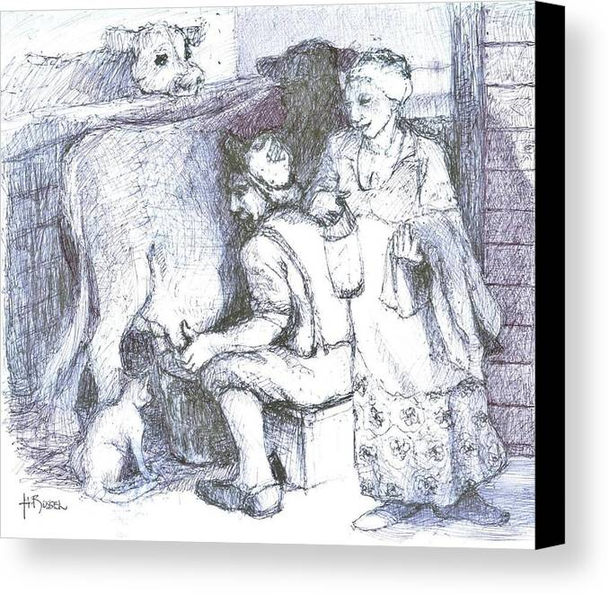 Historical Scene Canvas Print featuring the drawing Ww1doughboy Milker by Herb Russel
