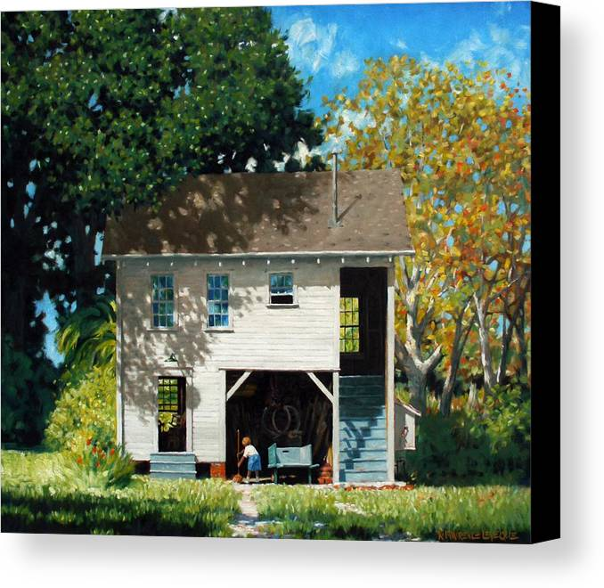 City Canvas Print featuring the painting Handy Broom by Kevin Lawrence Leveque