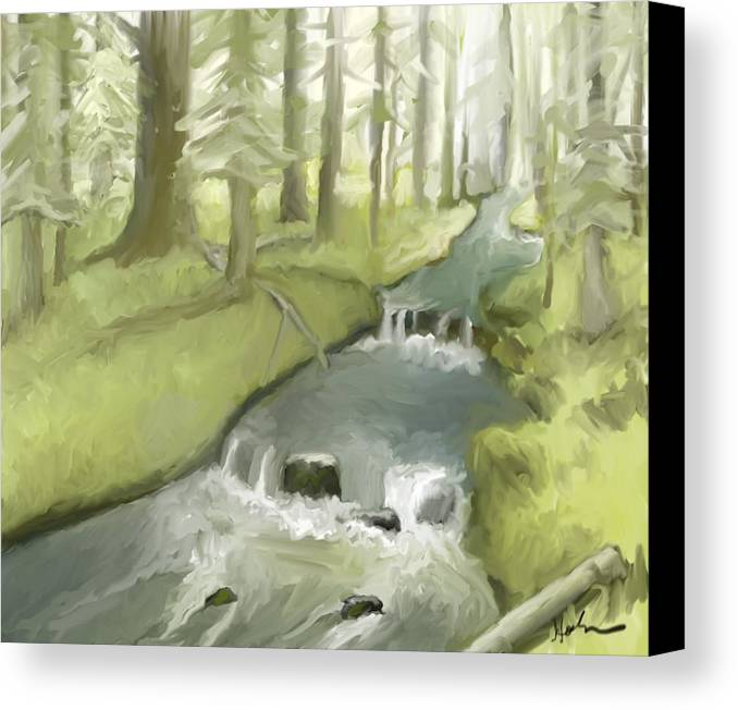 Stream Canvas Print featuring the painting As I Sat By A Brook And Pondered by Suryadas Joel Holliman