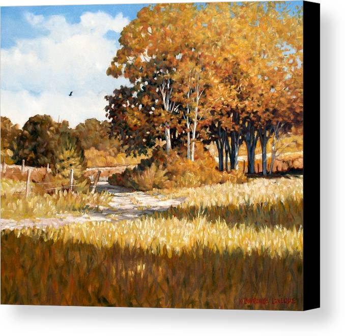 Landscape Canvas Print featuring the painting Bend In The Road by Kevin Lawrence Leveque