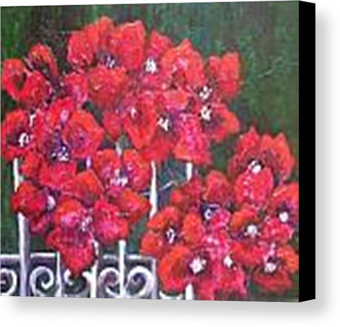 Canvas Print featuring the painting Bounganvillia On Fence by Carol P Kingsley
