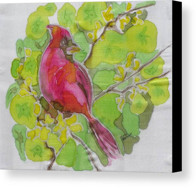 Bird Canvas Print featuring the painting Cardinal In Palo Verde by Kathy Mitchell