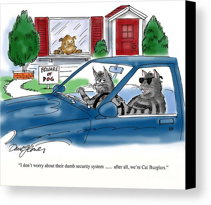 Cats Canvas Print featuring the digital art Cat Burglers by David Lloyd Glover