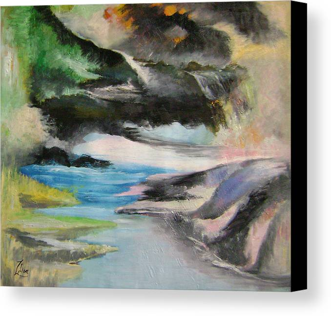 Abstract Canvas Print featuring the painting Chinese Landscape 1 by Lian Zhen