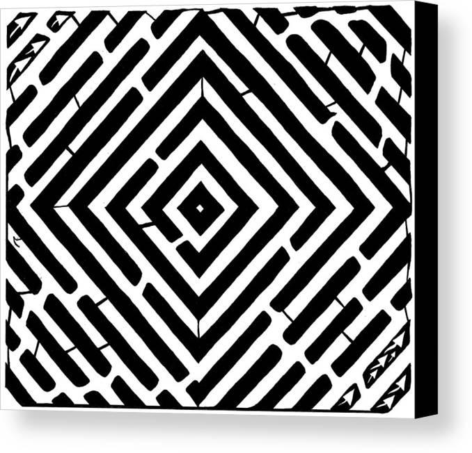 Optical Illusion Canvas Print featuring the drawing Diamond Shaped Optical Illusion Maze by Yonatan Frimer Maze Artist