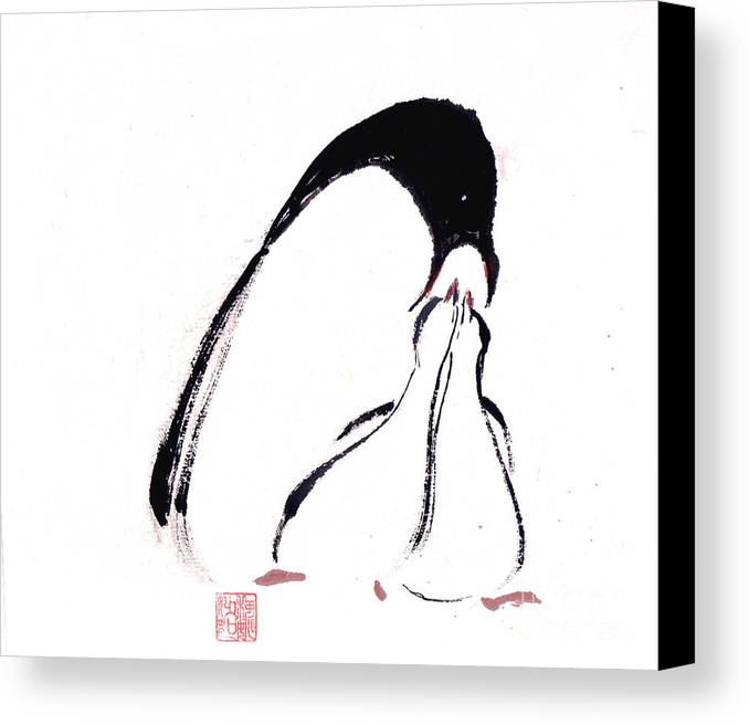An Adult Penguin Feeding The Babies. This Is A Contemporary Chinese Ink And Color On Rice Paper Painting With Simple Zen Style Brush Strokes.  Canvas Print featuring the painting Feeding by Mui-Joo Wee