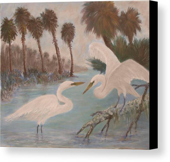 Egret Canvas Print featuring the painting First Meeting by Ben Kiger