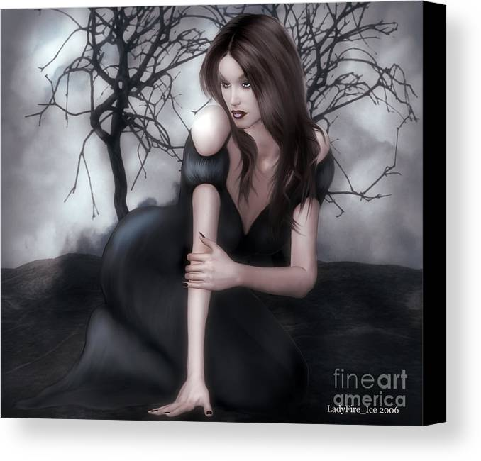 Female Canvas Print featuring the digital art Fixation by Linda Ebarb