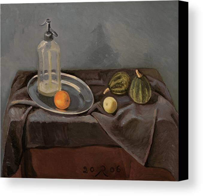 Still-life Grey Yellow Green Drapery Glass Metal Canvas Print featuring the painting Grey Day by Raimonda Jatkeviciute-Kasparaviciene