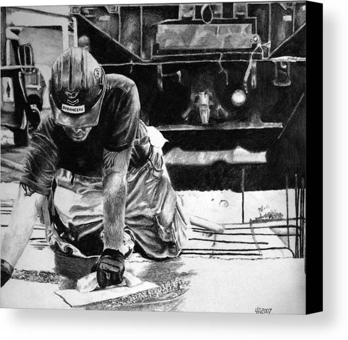 Military Canvas Print featuring the drawing Hard Hands Heavy Heart Head High by Darcie Duranceau