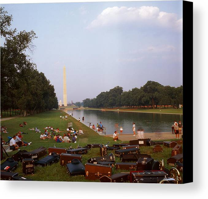 Water washington Monument Lawn Grass Music People Canvas Print featuring the photograph July In Dc by Lawrence Costales