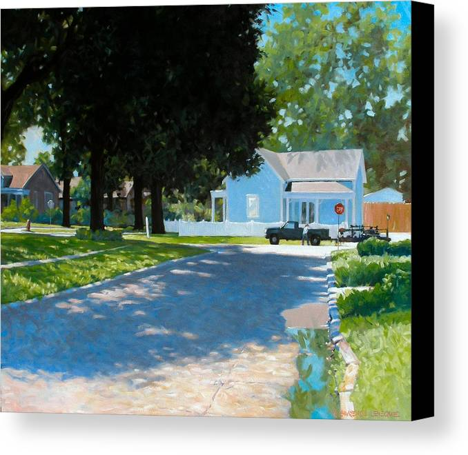 Street Scene Canvas Print featuring the painting Lawn Man by Kevin Lawrence Leveque