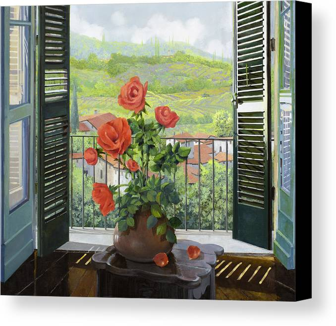 Landscape Canvas Print featuring the painting Le Persiane Sulla Valle by Guido Borelli