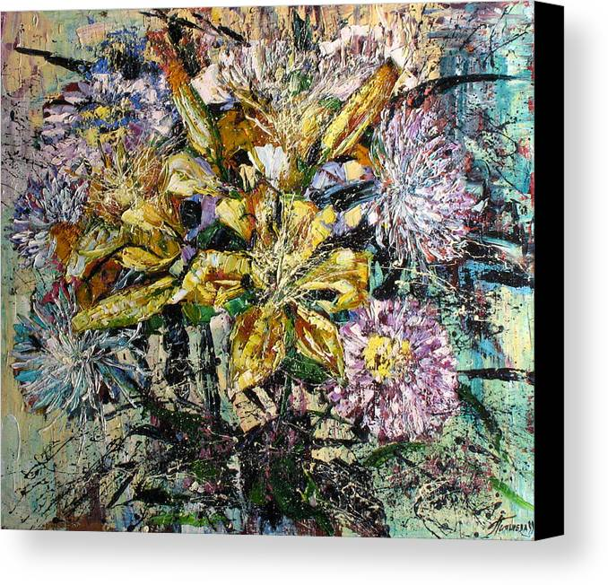 Still Life Canvas Print featuring the painting Lilies And Chrysanthemums.1999 by Natalia Piacheva