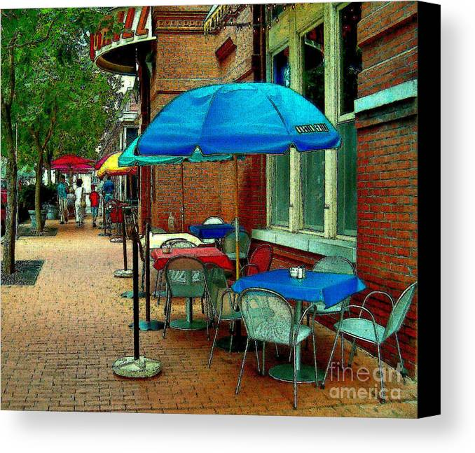 Landscape Canvas Print featuring the painting Little Street Cafe by Elinor Mavor