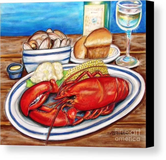 Kitchen Canvas Print featuring the pastel Lobster Dinner by Patricia L Davidson