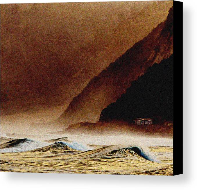 Brown Canvas Print featuring the photograph Lone House Kaikoura by Peter Millar