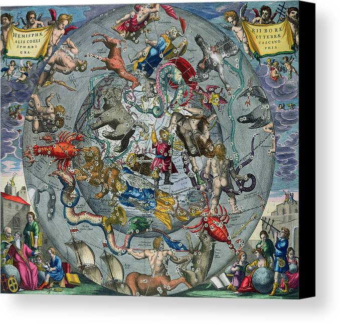 Map Canvas Print featuring the painting Map Of The Constellations Of The Northern Hemisphere by Andreas Cellarius