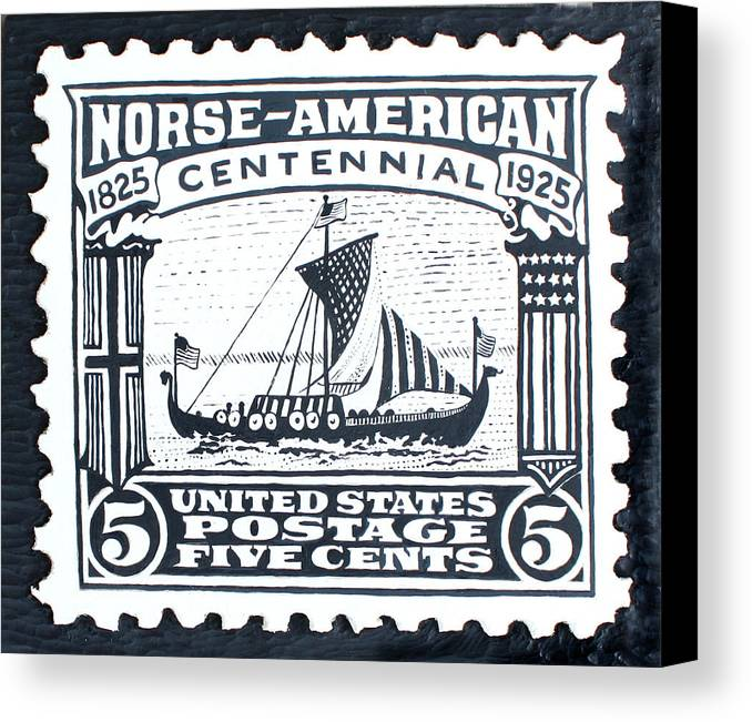 Ship Canvas Print featuring the painting Norse-american Centennial Stamp by James Neill