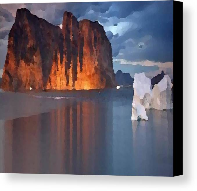 North.rock.iceberg.sea.sky.clouds.cold.landscape.nature.rest.silence Canvas Print featuring the digital art North Silence by Dr Loifer Vladimir
