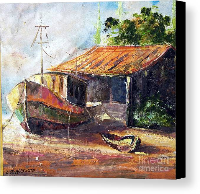 Canvas Print featuring the painting O Barco by Leomariano artist BRASIL