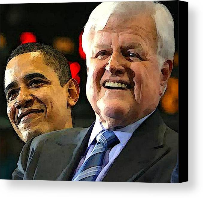 Kennedy Canvas Print featuring the photograph Obama And Kennedy by Gabe Art Inc