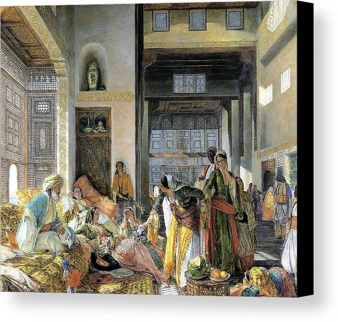 John Frederick Lewis(1804-1876)-orİentalİsm-(harem_19th Century) Canvas Print featuring the painting Orientalism by John Frederick