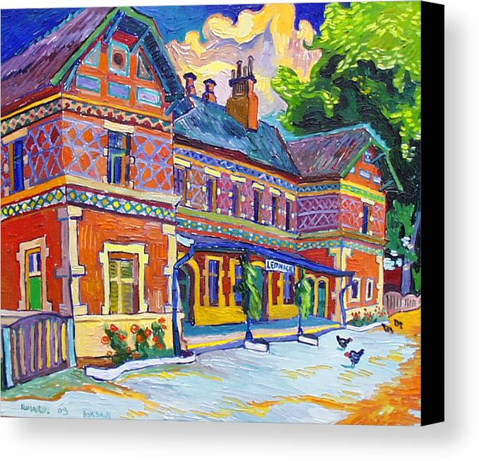 Lednice Canvas Print featuring the painting Railway Station In Lednice by Vitali Komarov