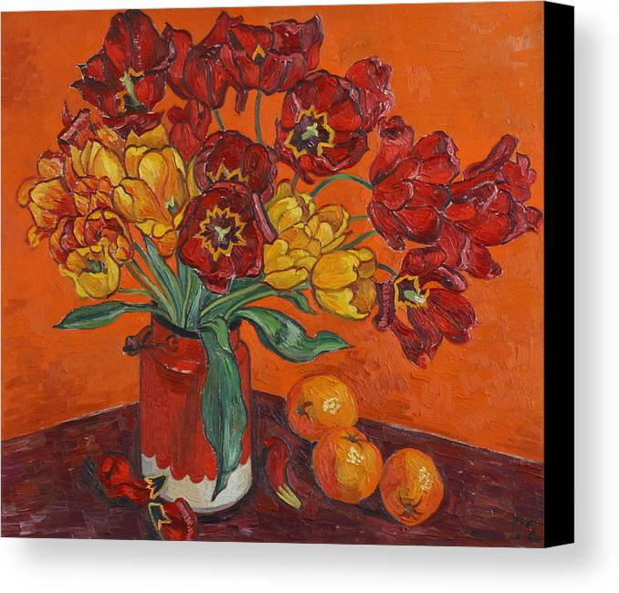 Tulips Canvas Print featuring the painting Red And Yellow Tulips And Oranges by Vitali Komarov