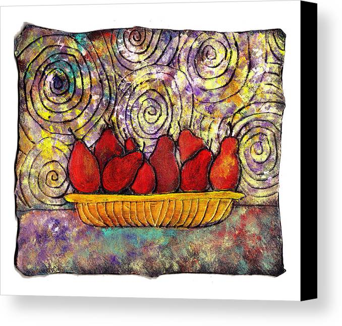 Spirals Canvas Print featuring the painting Red Pears In A Bowl by Wayne Potrafka