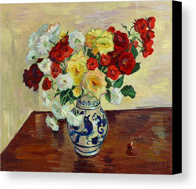 Rose Canvas Print featuring the painting Roses In Chinese Vase by Vitali Komarov