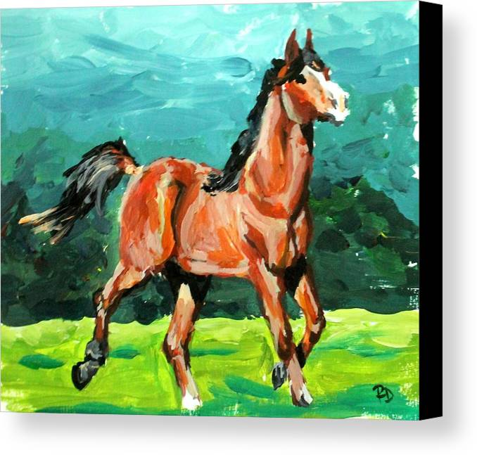 Horse Canvas Print featuring the painting Running Free by Rebecca Davis