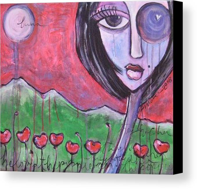 Poppies Canvas Print featuring the painting She Loved The Poppies by Laurie Maves ART
