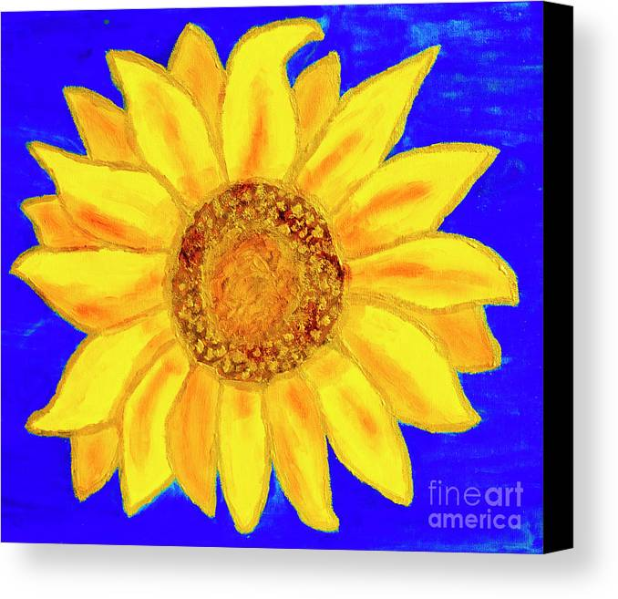 Art Canvas Print featuring the painting Sunflower, Acrylic Painting by Irina Afonskaya