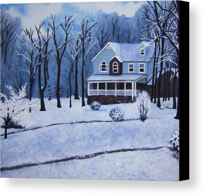 Landscape Canvas Print featuring the painting Tennessee Winter In The Smokies by Beth Parrish