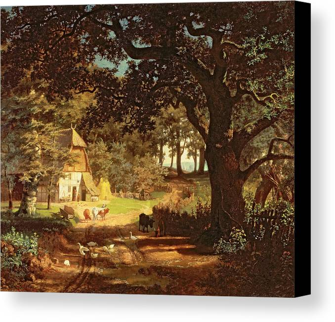 Albert Bierstadt Canvas Print featuring the painting The House In The Woods by Albert Bierstadt