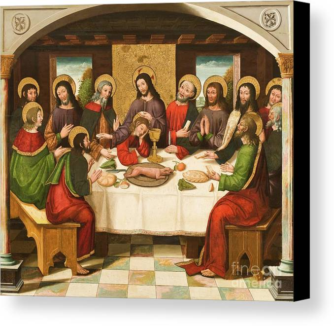The Last Supper Canvas Print featuring the painting The Last Supper by Master of Portillo