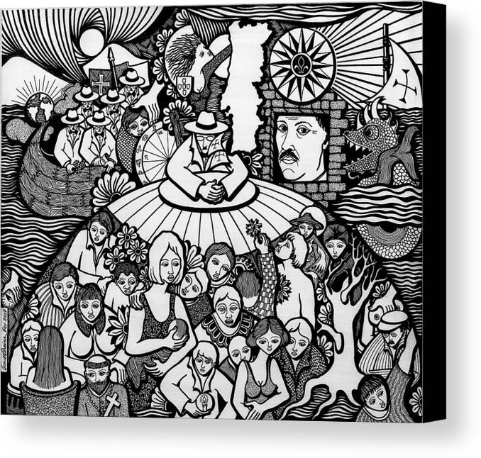 Drawing Canvas Print featuring the drawing The Sea Was Conquered The Empire Undone by Jose Alberto Gomes Pereira