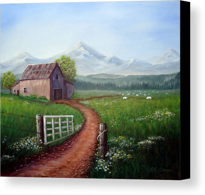 Mountains Canvas Print featuring the painting Through The Gate by SueEllen Cowan