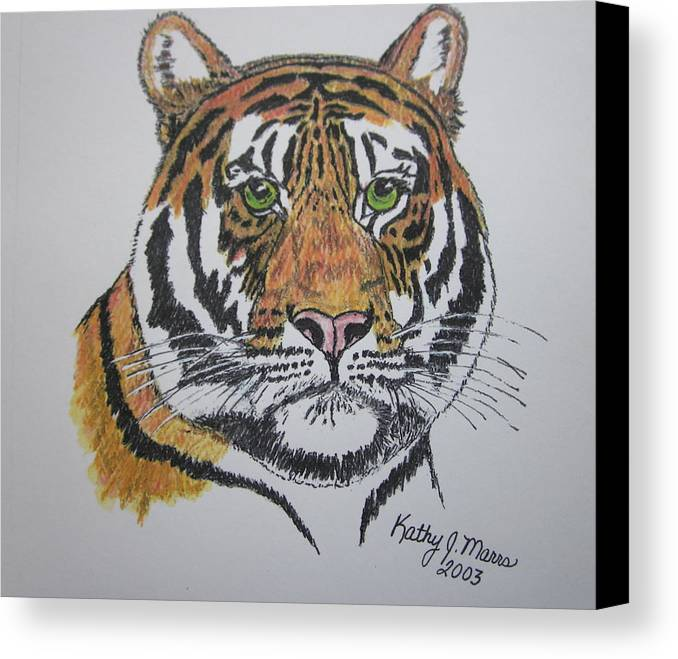 Bengal Canvas Print featuring the painting Tiger by Kathy Marrs Chandler
