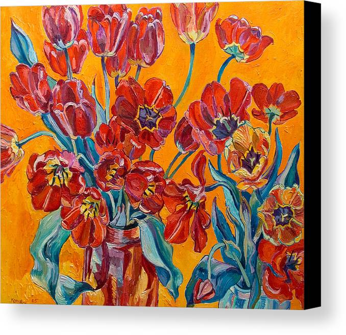 Still Life Canvas Print featuring the painting Two Bunches Of Red Tulips by Vitali Komarov