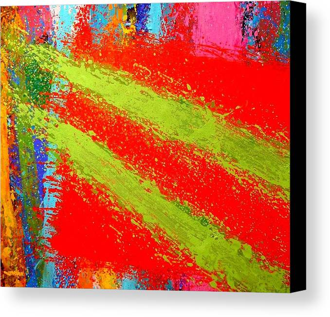 Abstract Irish Contemporary Modern Vibrant Music Jazz Artist Gallery Studio Red Green Colourful Acrylic Canvas Stylised Original Print Card Professional Art Auction Bid Canvas Print featuring the painting Unison by John Nolan