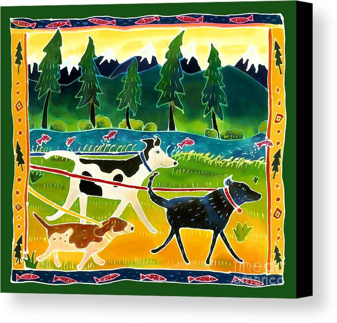Dog Canvas Print featuring the painting Walk The Dogs by Harriet Peck Taylor