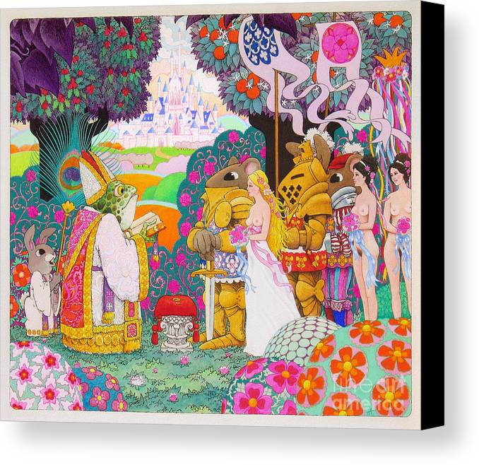 Fantasy Illustration; Medieval; Fantasy; Castles; Erotic Fantasy; Knights And Ladies; Frogs; Rabbits Canvas Print featuring the painting Wedding by Terry Anderson